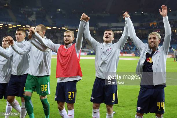 Timo Werner Kevin Kampl and team mates of Leipzig celebrate with the fans after the Bundesliga match between Hamburger SV and RB Leipzig at...