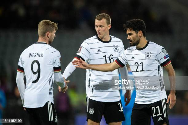 Timo Werner, Lukas Klostermann, Ilkay Guendogan of Germany celebrates their team's fourth goal during the 2022 FIFA World Cup Qualifier match between...