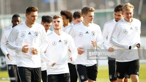 Timo Werner Matthias Ginter and Julian Brandt at the training session of the German National Team at Schenkendorffplatz on March 25 2018 in Berlin...