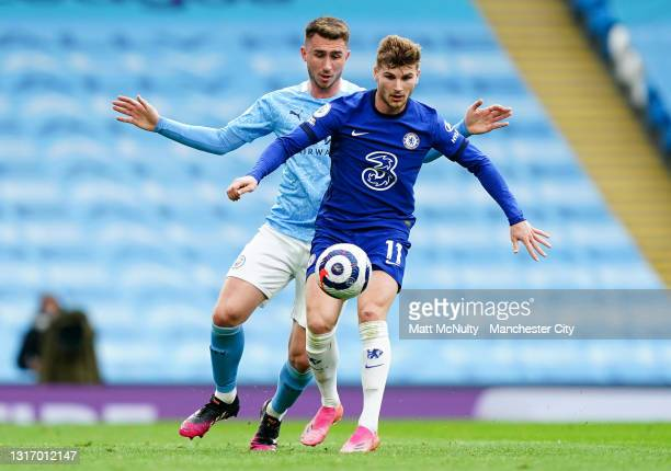 Timo Werner of Chelsea and Aymeric Laporte of Manchester City during the Premier League match between Manchester City and Chelsea at Etihad Stadium...