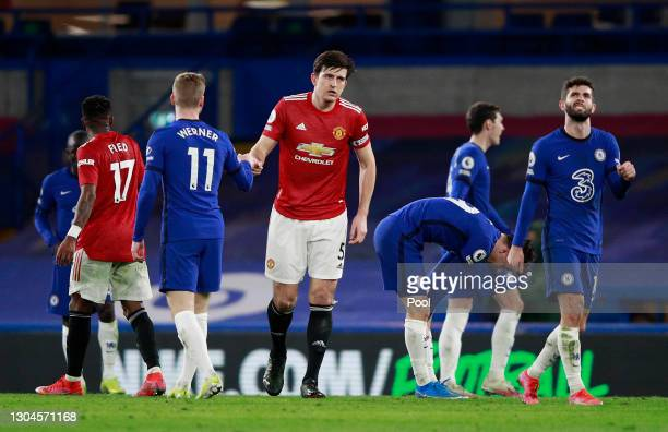 Timo Werner of Chelsea and Harry Maguire of Manchester United interact following the Premier League match between Chelsea and Manchester United at...
