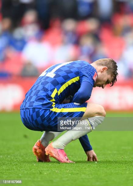 Timo Werner of Chelsea appears to be injured during The Emirates FA Cup Final match between Chelsea and Leicester City at Wembley Stadium on May 15,...