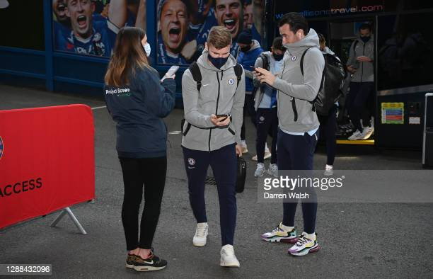 Timo Werner of Chelsea arrives at the stadium prior to the Premier League match between Chelsea and Tottenham Hotspur at Stamford Bridge on November...