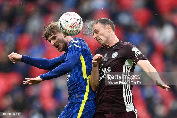 Timo Werner of Chelsea battles for a header with Jonny Evans of Leicester City during The Emirates FA Cup Final match between Chelsea and Leicester...