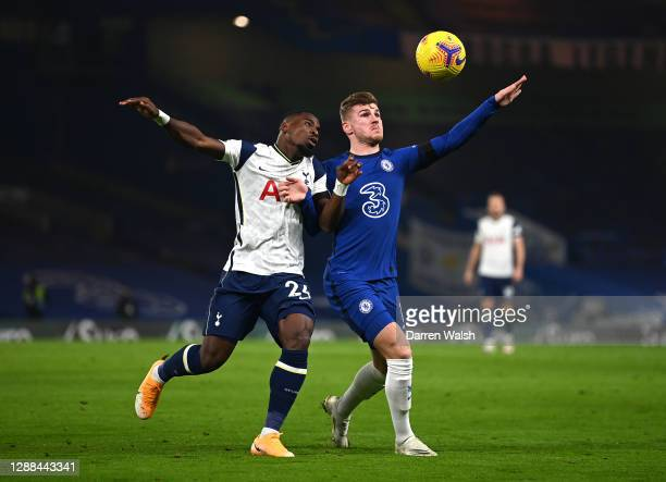 Timo Werner of Chelsea battles for possession with Serge Aurier of Tottenham Hotspur during the Premier League match between Chelsea and Tottenham...
