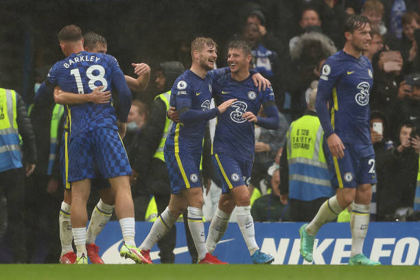 Timo Werner of Chelsea celebrates after scoring a goal to make it 2-1 during the Premier League match between Chelsea and Southampton at Stamford...