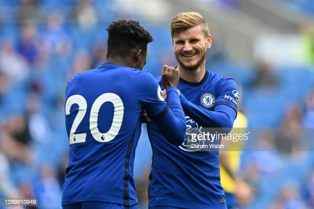 Timo Werner of Chelsea celebrates after scoring his sides first goal during the preseason friendly between Brighton Hove Albion and Chelsea at Amex...