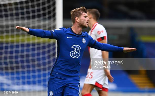 Timo Werner of Chelsea celebrates after scoring his sides second goal during the Premier League match between Chelsea and Southampton at Stamford...