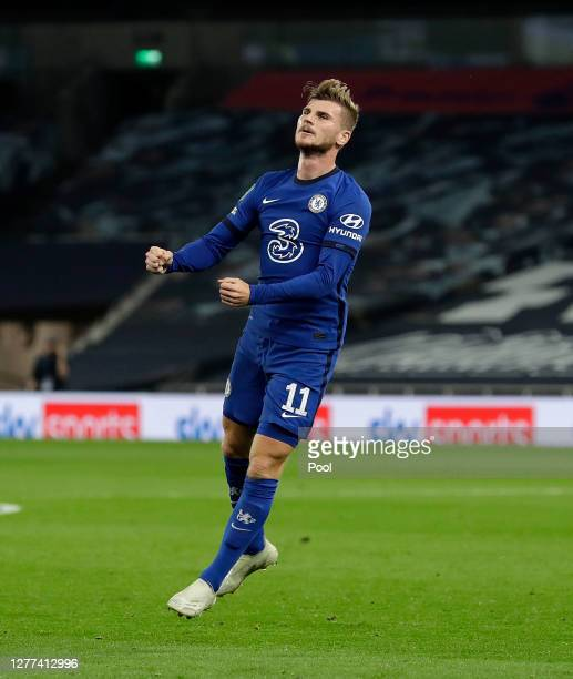 Timo Werner of Chelsea celebrates after scoring his team's first goal during the Carabao Cup fourth round match between Tottenham Hotspur and Chelsea...