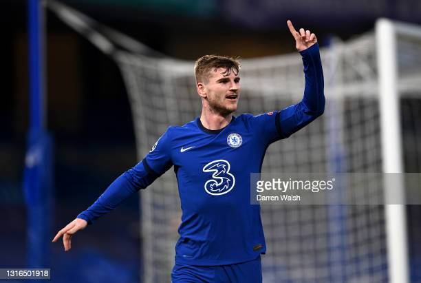 Timo Werner of Chelsea celebrates after scoring his team's first goal during the UEFA Champions League Semi Final Second Leg match between Chelsea...