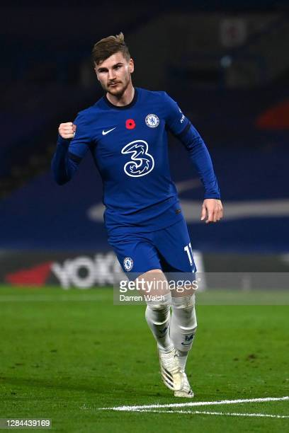Timo Werner of Chelsea celebrates after scoring his team's fourth goal during the Premier League match between Chelsea and Sheffield United at...