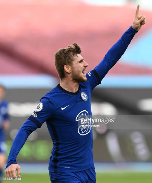 Timo Werner of Chelsea celebrates after scoring their sides first goal during the Premier League match between West Ham United and Chelsea at London...