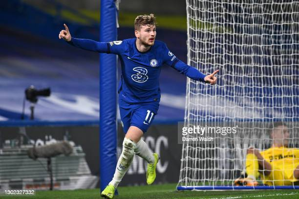 Timo Werner of Chelsea celebrates after scoring their team's second goal during the Premier League match between Chelsea and Newcastle United at...