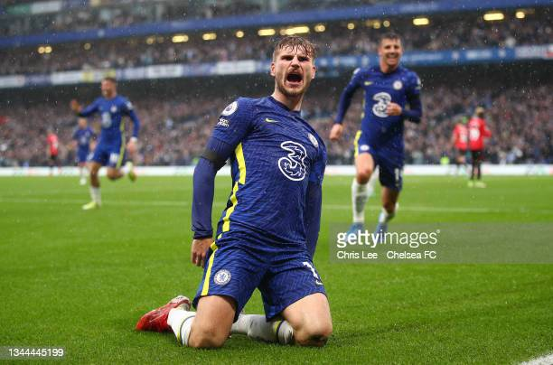 Timo Werner of Chelsea celebrates after scoring their team's second goal during the Premier League match between Chelsea and Southampton at Stamford...