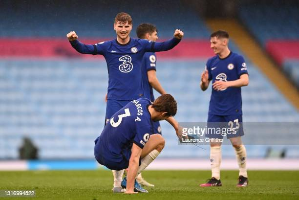 Timo Werner of Chelsea celebrates victory following the Premier League match between Manchester City and Chelsea at Etihad Stadium on May 08, 2021 in...