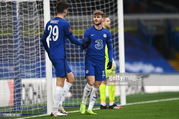 Timo Werner of Chelsea celebrates with team mate Kai Havertz after scoring their side's second goal during the FA Cup Third Round match between...