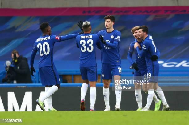 Timo Werner of Chelsea celebrates with team mates Callum Hudson-Odoi, Emerson Palmieri, Kai Havertz and Mason Mount after scoring their side's second...