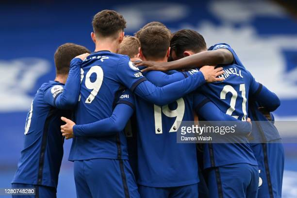 Timo Werner of Chelsea celebrates with teammates after scoring his sides first goal during the Premier League match between Chelsea and Southampton...