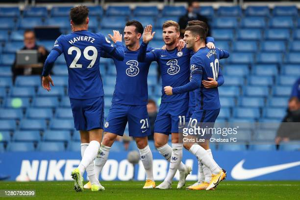 Timo Werner of Chelsea celebrates with teammates after scoring his sides second goal during the Premier League match between Chelsea and Southampton...