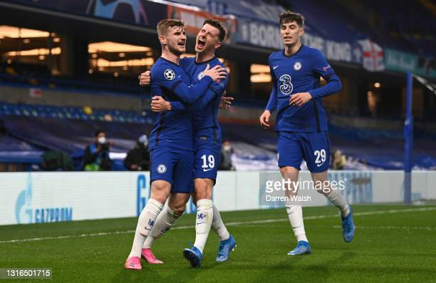 Timo Werner of Chelsea celebrates with teammates Mason Mount and Kai Havertz after scoring their team's first goal during the UEFA Champions League...