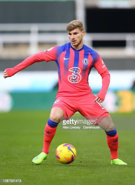 Timo Werner of Chelsea controls the ball during the Premier League match between Newcastle United and Chelsea at St James Park on November 21 2020 in...