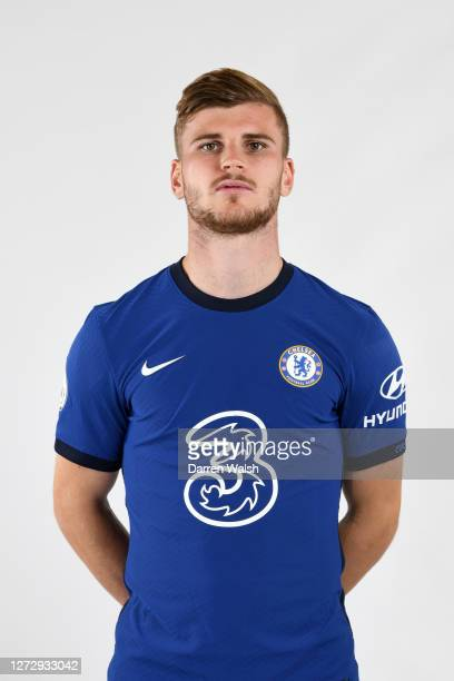 Timo Werner of Chelsea during a Chelsea Media Day at Chelsea Training Ground on September 11, 2020 in Cobham, England.