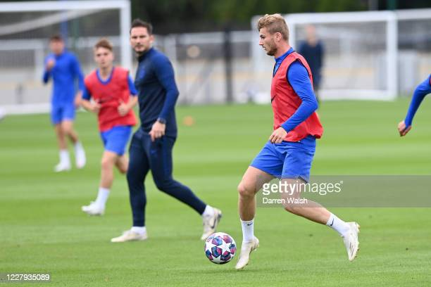 Timo Werner of Chelsea during a training session at Chelsea Training Ground on August 6 2020 in Cobham England