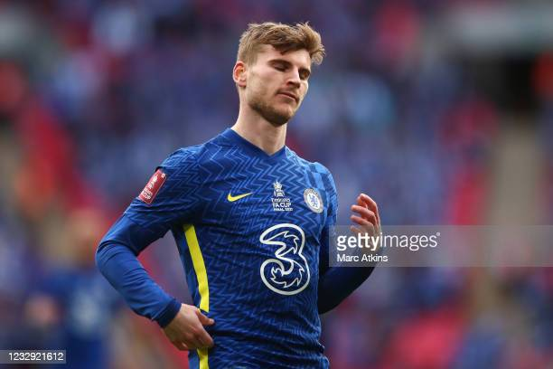 Timo Werner of Chelsea during The Emirates FA Cup Final match between Chelsea and Leicester City at Wembley Stadium on May 15, 2021 in London,...