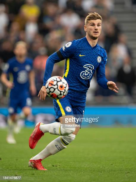 Timo Werner of Chelsea during the Premier League match between Tottenham Hotspur and Chelsea at Tottenham Hotspur Stadium on September 19, 2021 in...