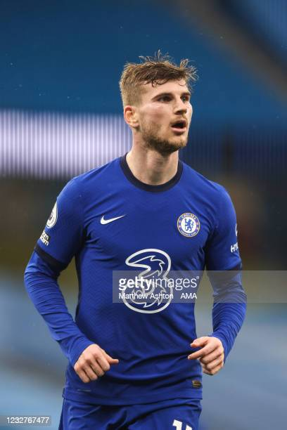 Timo Werner of Chelsea during the Premier League match between Manchester City and Chelsea at Etihad Stadium on May 8, 2021 in Manchester, United...