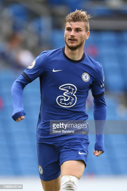 Timo Werner of Chelsea during the pre-season friendly match at Amex Stadium on August 29, 2020 in Brighton, England. A limited number of spectators...