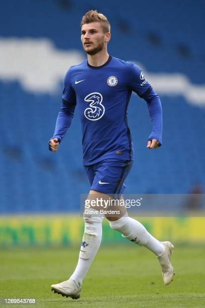 Timo Werner of Chelsea during the preseason friendly match at Amex Stadium on August 29 2020 in Brighton England A limited number of spectators will...