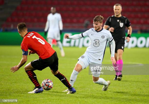 Timo Werner of Chelsea during the UEFA Champions League Group E stage match between Stade Rennais and Chelsea FC at Roazhon Park stadium on November...