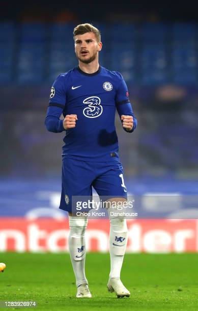 Timo Werner of Chelsea FC celebrates scoring his teams first goal during the UEFA Champions League Group E stage match between Chelsea FC and Stade...