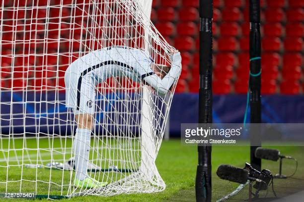 Timo Werner of Chelsea FC reacts to a play during the UEFA Champions League Group E stage match between Stade Rennais and Chelsea FC at Roazhon Park...