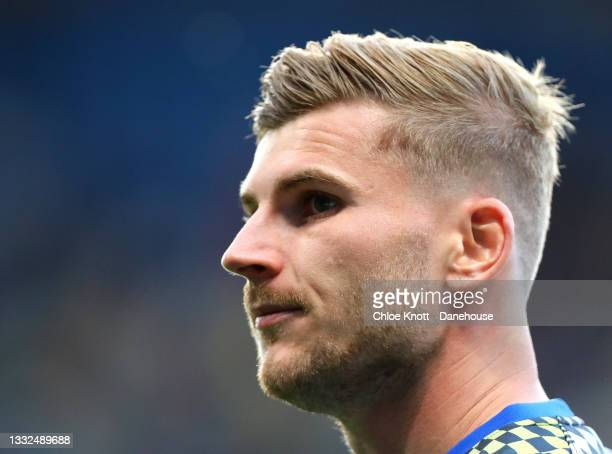 Timo Werner of Chelsea FC warms up ahead of the Pre Season Friendly between Chelsea and Tottenham Hotspur at Stamford Bridge on August 04, 2021 in...