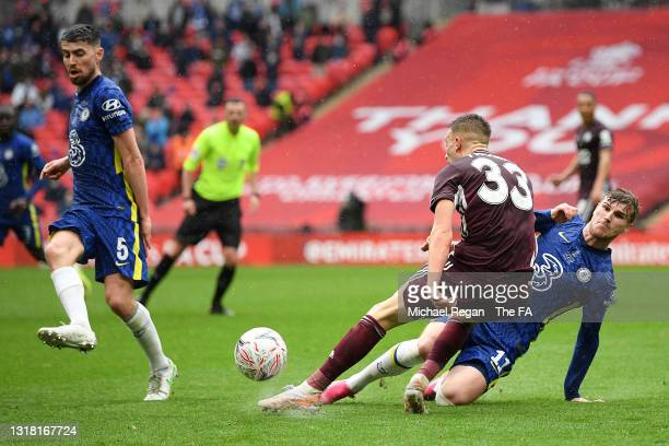 Timo Werner of Chelsea fouls Luke Thomas of Leicester City during The Emirates FA Cup Final match between Chelsea and Leicester City at Wembley...