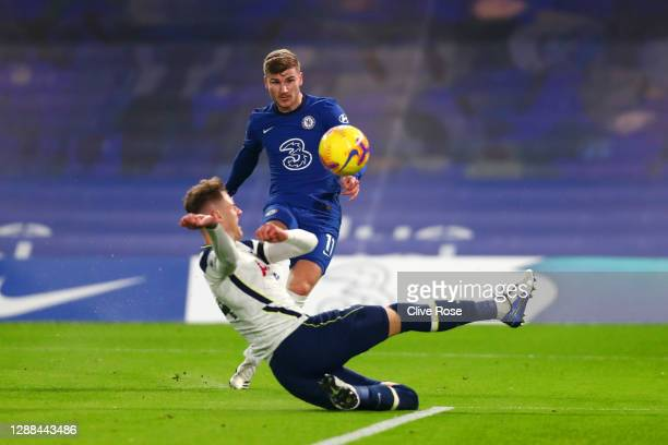 Timo Werner of Chelsea has a goal disallowed for offside as Joe Rodon of Tottenham Hotspur slides in during the Premier League match between Chelsea...