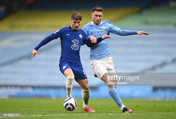 Timo Werner of Chelsea is closed down by Aymeric Laporte of Manchester City during the Premier League match between Manchester City and Chelsea at...
