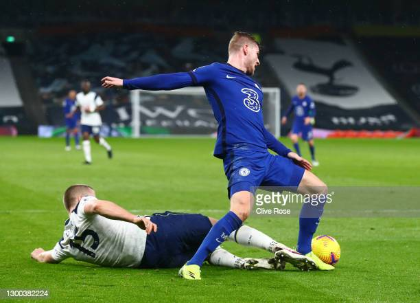 Timo Werner of Chelsea is fouled by Eric Dier of Tottenham Hotspur leading to a penalty during the Premier League match between Tottenham Hotspur and...