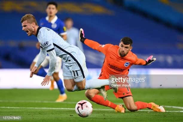 Timo Werner of Chelsea is fouled by Mat Ryan of Brighton and Hove Albion leading to a penalty during the Premier League match between Brighton & Hove...