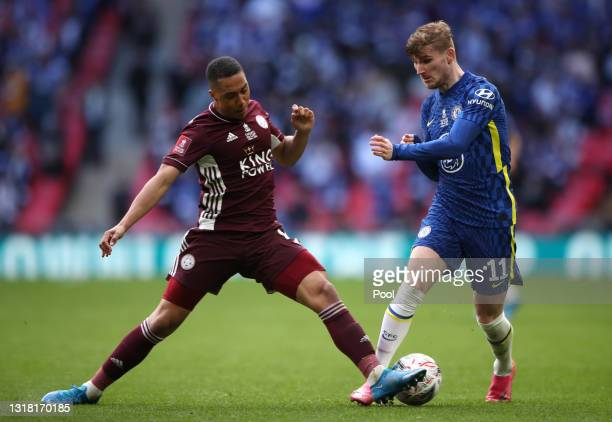 Timo Werner of Chelsea is tackled by Youri Tielemans of Leicester City during The Emirates FA Cup Final match between Chelsea and Leicester City at...