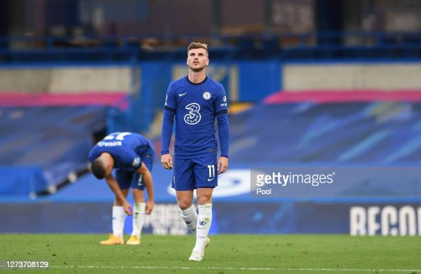 Timo Werner of Chelsea looks dejected after conceding during the Premier League match between Chelsea and Liverpool at Stamford Bridge on September...