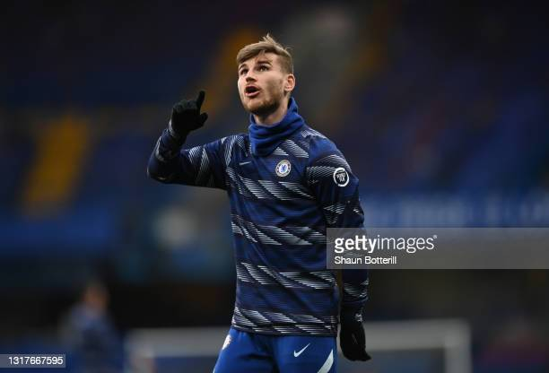 Timo Werner of Chelsea looks on during the warm up ahead of the Premier League match between Chelsea and Arsenal at Stamford Bridge on May 12, 2021...