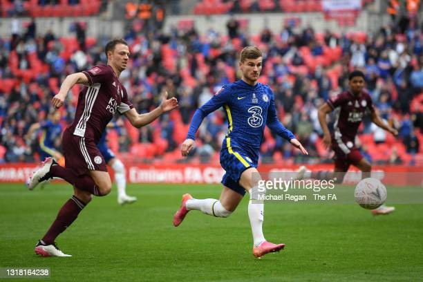 Timo Werner of Chelsea looks to control the ball whilst under pressure from Jonny Evans of Leicester City during The Emirates FA Cup Final match...
