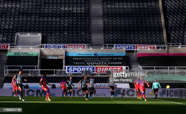 Timo Werner of Chelsea plays the ball during the Premier League match between Newcastle United and Chelsea at St James Park on November 21 2020 in...