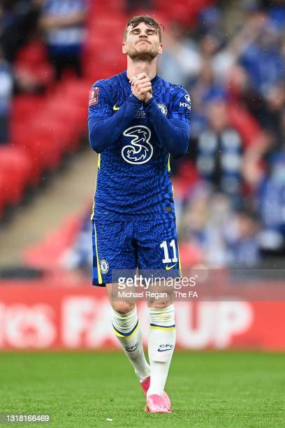 Timo Werner of Chelsea reacts after a missed chance during The Emirates FA Cup Final match between Chelsea and Leicester City at Wembley Stadium on...