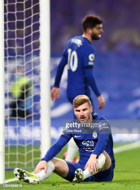 Timo Werner of Chelsea reacts after missing a chance during the Premier League match between Chelsea and Manchester United at Stamford Bridge on...