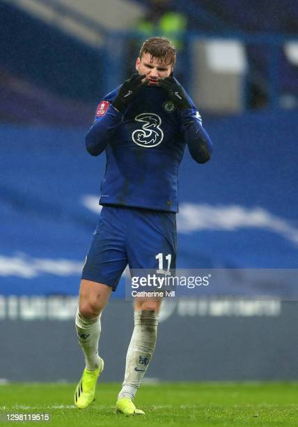 Timo Werner of Chelsea reacts after missing a penalty during The Emirates FA Cup Fourth Round match between Chelsea and Luton Town at Stamford Bridge...