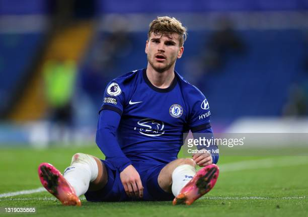 Timo Werner of Chelsea reacts during the Premier League match between Chelsea and Leicester City at Stamford Bridge on May 18, 2021 in London,...